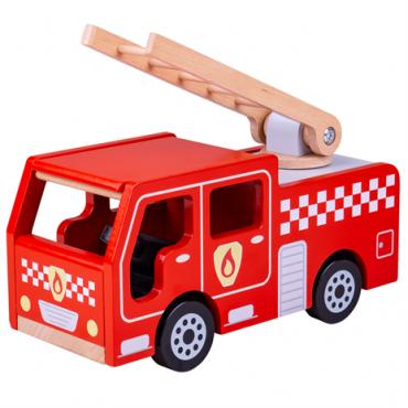 Camion de pompier en bois - Bigjigs - Trésors d'Enfance à Rodez-cadeau-enfants-jeux-jouets