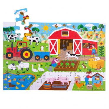 Puzzle de la ferme 48 pièces - Bigjigs - Trésors d'Enfance à Rodez-jeux-jouets-cadeau-enfants-bébés-puzzle 4 ans