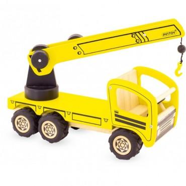 Camion Grue en bois - Pintoy - Trésors d'Enfance à Rodez - jeux-jouets-bébés-enfants-cadeau-jouets en bois
