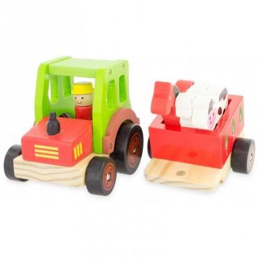 Tracteur transport d'animaux en bois - Ulysse - Trésors d'Enfance à Rodez-jouet d'éveil-motricité