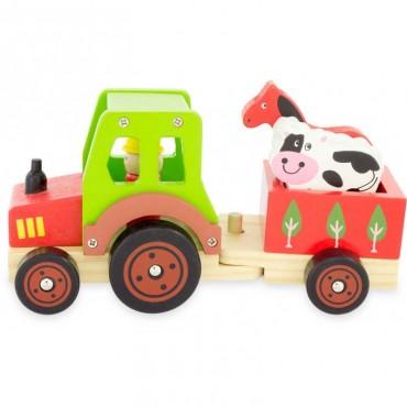 Tracteur transport d'animaux en bois - Ulysse - Trésors d'Enfance à Rodez-cadeau-naissance-jouet en bois