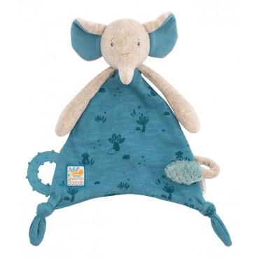 Doudou attache-tétine éléphant Sous mon baobab - Moulin Roty-jouet en bois