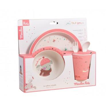 Set vaisselle rose Les Jolis Trop Beaux - Moulin Roty - Trésors d'Enfance à Rodez-bébé-enfant