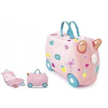 Valise Flamant rose - Trunki - Trésors d'Enfance à Rodez-jouets-jeux-valise enfant-bébés-enfants-cadeau
