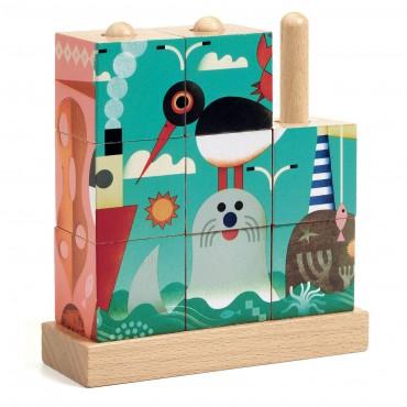 9 cubes puzzle en bois...