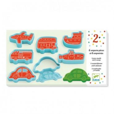 Set de 6 emporte-pièces et 6 empreintes : véhicules - Djeco Trésors d'Enfance à Rodez