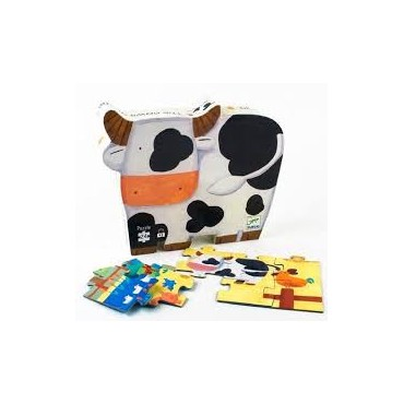 Puzzle 24 pièces : Les vaches à la ferme - Djeco Trésors d'Enfance à Rodez