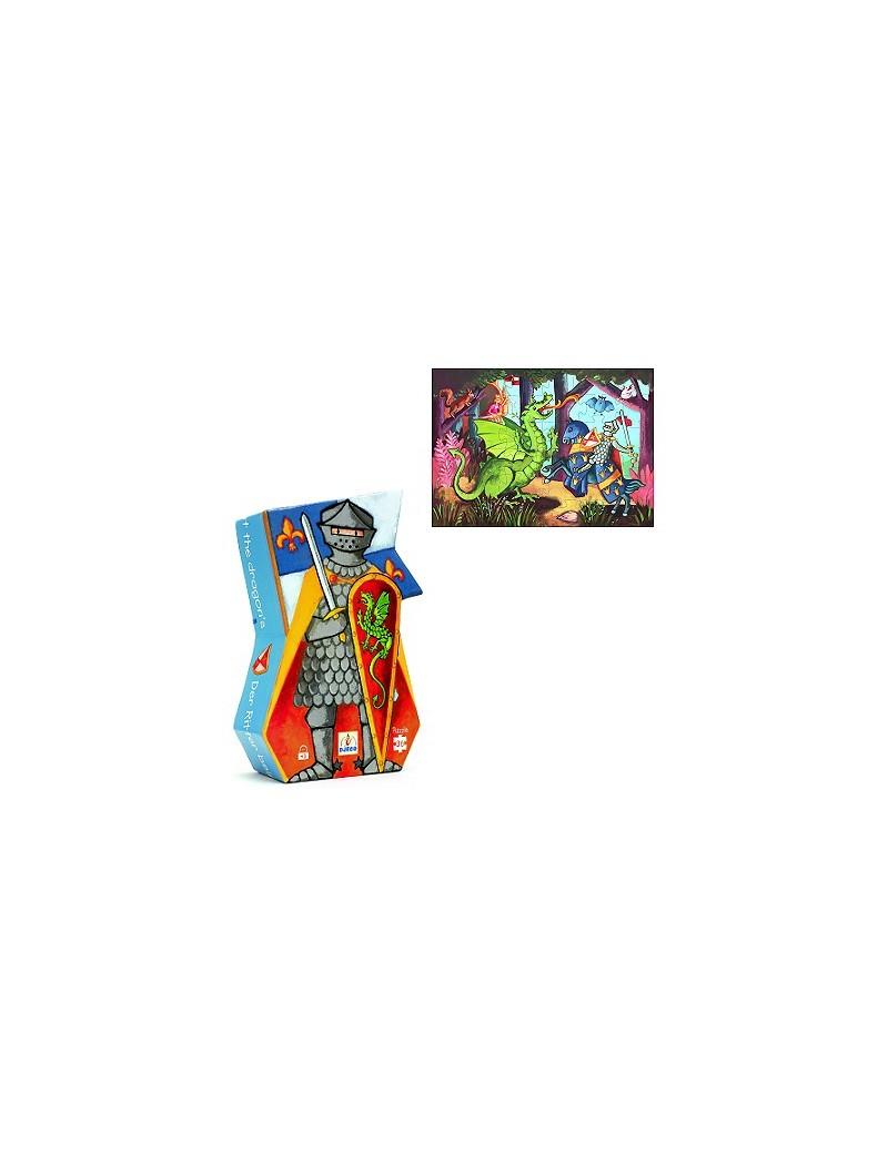 Puzzle 36 pièces : Le chevalier au dragon - Djeco - Trésors d'Enfance à Rodez