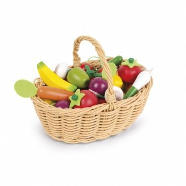 Panier de 24 fruits et légumes en bois - Janod - Trésors d'Enfance à Rodez
