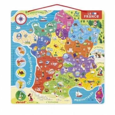 Puzzle Magnétique de la France - Janod - Trésors d'Enfance à Rodez
