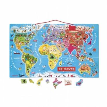 Puzzle Magnétique du Monde - Janod - Trésors d'Enfance à Rodez
