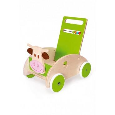 Chariot de marche en bois vache Marie - Scratch - Trésors d'Enfance à Rodez-jeux-jouets