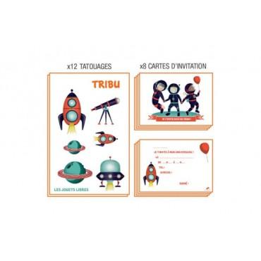 Carte d'invitation anniversaire : TRIBU - Cosmonautes - Les Jouets Libres - Trésors d'Enfance à Rodez