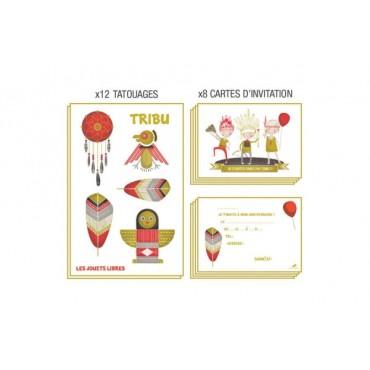 Carte d'invitation anniversaire : TRIBU - Indiens - Les Jouets Libres - Trésors d'Enfance à Rodez