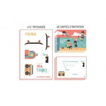 Carte d'invitation anniversaire : TRIBU - Street art - Les Jouets Libres - Trésors d'Enfance à Rodez