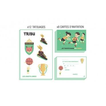 Carte d'invitation anniversaire : TRIBU - Les Sportifs - Les Jouets Libres - Trésors d'Enfance à Rodez