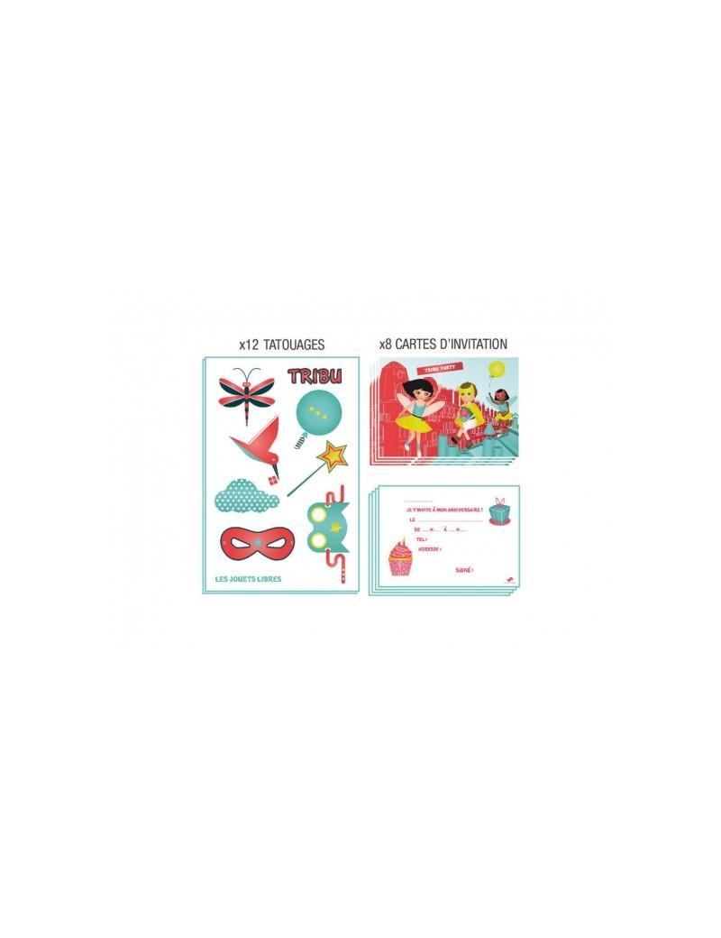 Carte d'invitation anniversaire : TRIBU - Flying Kids - Les Jouets Libres - Trésors d'Enfance à Rodez
