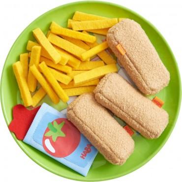 Assiette avec bâtonnets de poisson et frites - Haba - Trésors d'Enfance à Rodez