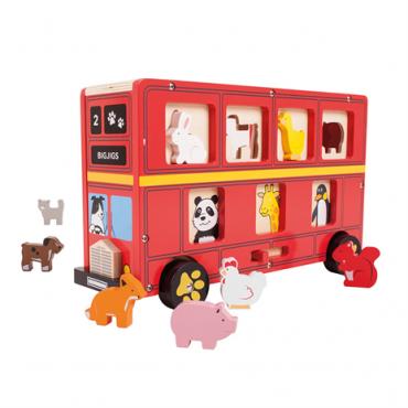 Bus rouge avec formes animaux en bois - Bigjigs - Trésors d'Enfance à Rodez