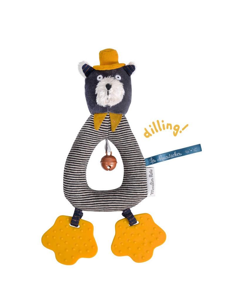 Anneau hochet Chat gris Alphonse Les Moustaches - Moulin Roty Trésors d'Enfance à Rodez