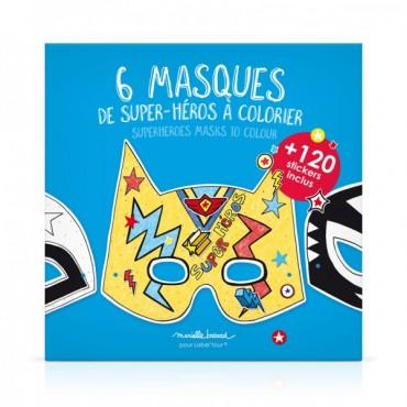 6 masques de super-héros à colorier - Marielle Bazard - Trésors d'Enfance à Rodez