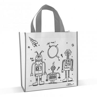 Sac Cabas à Colorier - Robot - Marielle Bazard - Trésors d'Enfance à Rodez