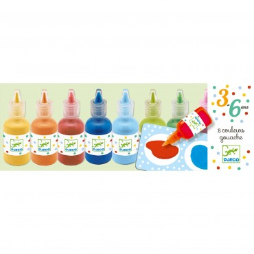 8 bouteilles de gouaches -Djeco - Trésors d'Enfance à Rodez