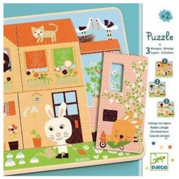 Puzzle 3 niveaux en bois : Chez carot - DJECO Trésors d'Enfance à Rodez