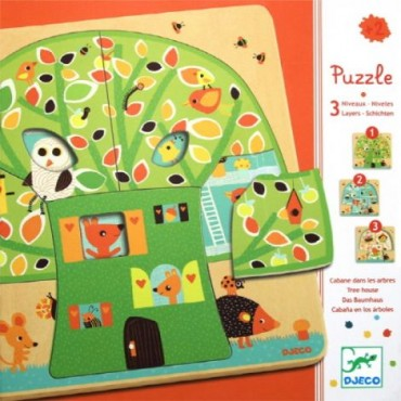 Puzzle 3 niveaux en bois : Chez-nut - DJECO Trésors d'Enfance à Rodez