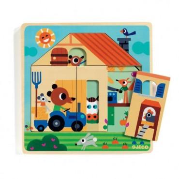 Puzzle 3 niveaux en bois : Chez-Gaby - DJECO Trésors d'Enfance à Rodez