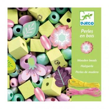 450 perles en bois : Fleurs et Feuilles - Djeco - Trésors d'Enfance à Rodez