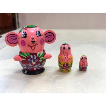 Matriochkas Animaux : Eléphant 3 pièces - Trésors d'Enfance à Rodez
