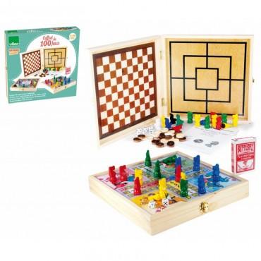 Coffret en bois 100 jeux de société - Vilac - Trésors d'Enfance à Rodez
