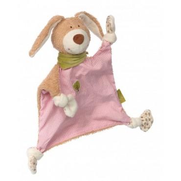 Doudou lapin rose en coton Bio - Sigikid - Trésors d'Enfance à Rodez