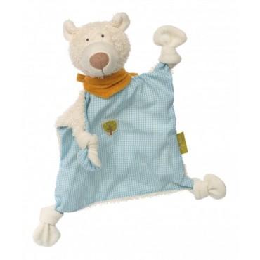 Doudou Ours bleu en coton Bio - Sigikid - Trésors d'Enfance à Rodez