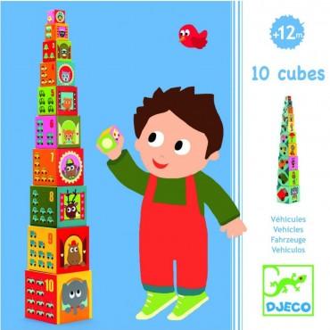 Cubes gigognes : Véhicules - Djeco - Trésors d'Enfance à Rodez