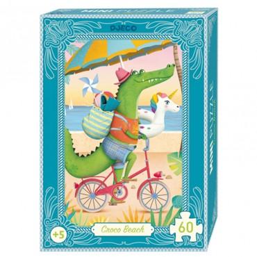 Mini Puzzle 60 pièces : Croco Beach - Djeco - Trésors d'Enfance à Rodez