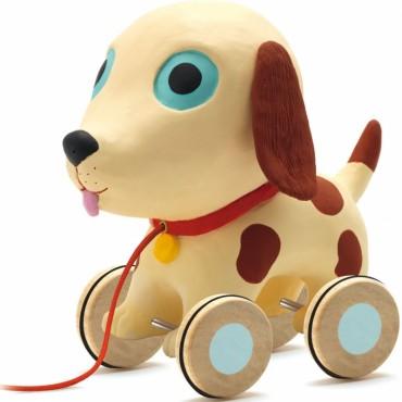 Jouet à tirer : Théo le chien - Djeco - Trésors d'Enfance à Rodez