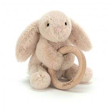 Shooshu Bunny Wooden Ring Toy - Jellycat - Trésors d'Enfance à Rodez