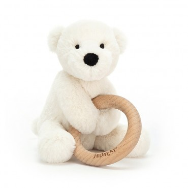 Shooshu Perry Polar Bear Wooden Ring Toy - Jellycat - Trésors d'Enfance à Rodez