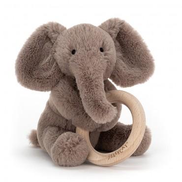 Shooshu Elephant Wooden Ring Toy - Jellycat - Trésors d'Enfance à Rodez
