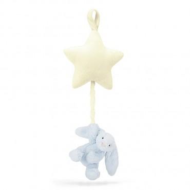 Bashful Blue Bunny Star Musical Pull - Jellycat - Trésors d'Enfance à Rodez