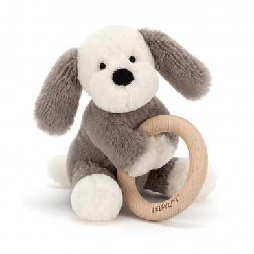 Shooshu Puppy Wooden Ring Toy - Jellycat - Trésors d'Enfance à Rodez