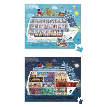 Valisette 2 Puzzles Bateau de croisière 100 et 200 pcs - Janod - Trésors d'Enfance