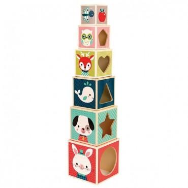 Pyramide 6 cubes en bois : Baby Forest - Janod - Trésors d'Enfance à Rodez