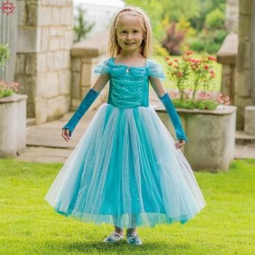 Robe de princesse Turquoise avec gants - Travis Design - Trésors d'Enfance à Rodez-déguisement fille-enfant-bébé-cadeau