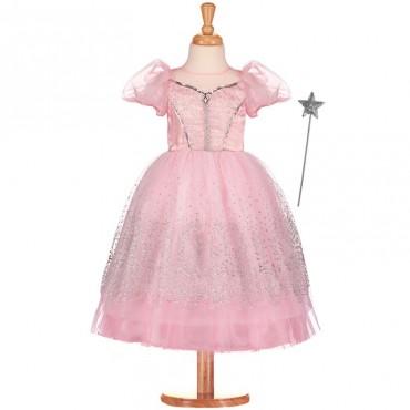 Robe de princesse rose avec baguette - Travis Design - Trésors d'Enfance à Rodez-déguisement fille